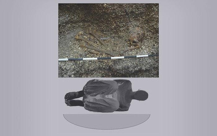 Hình ảnh thực về mộ cổ chứa hài cốt nữ lực sĩ bí ẩn và hình mô tả tư thế cô gái nằm trong mộ