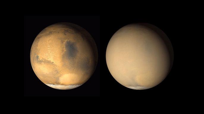 Sao Hỏa trước và sau khi bị bão bụi bao phủ