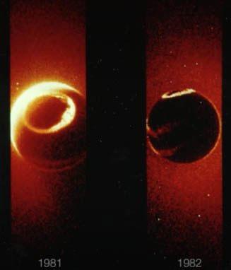 Vòng tròn màu sáng thể hiện sự thất thoát của khí quyển ra ngoài vũ trụ.