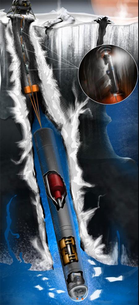 Hình minh họa tái dựng tàu robot đào hầm tại mặt trăng Europa.