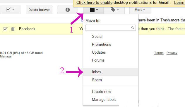 Di chuột lên tìm tới biểu tượng Move to và chọn mục Inbox trong hộp thoại xổ xuống