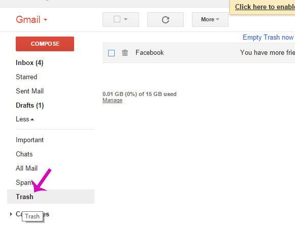 Tại giao diện chính của Gmail, hãy click vào More>Trash ở cột bên trái