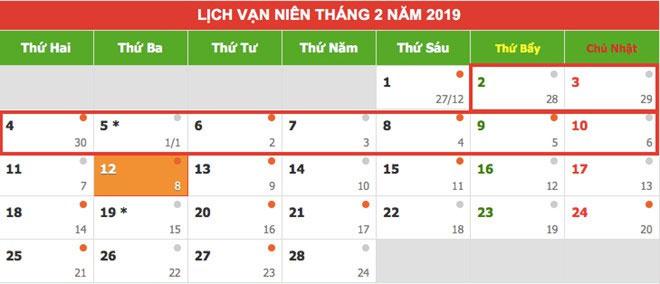 Lịch nghỉ Tết Nguyên Đán 2019.