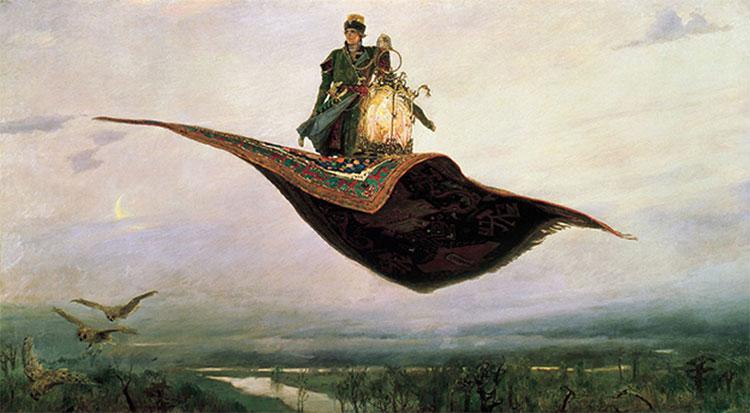 Tấm thảm bay của vua Solomon được mô tả có màu xanh và được làm từ chất liệu lụa.