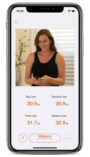 Ứng dụng đo kích cỡ ngực của Soma Innofit trên Iphone.