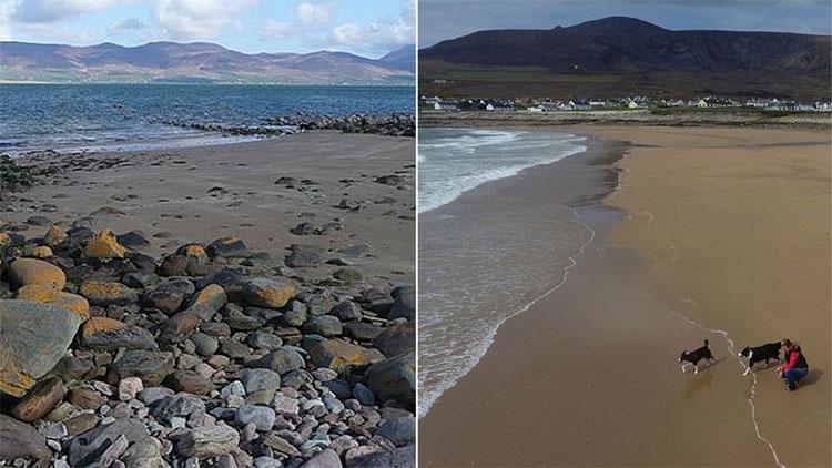 Bãi biển Dooagh trước và sau bão Ali.