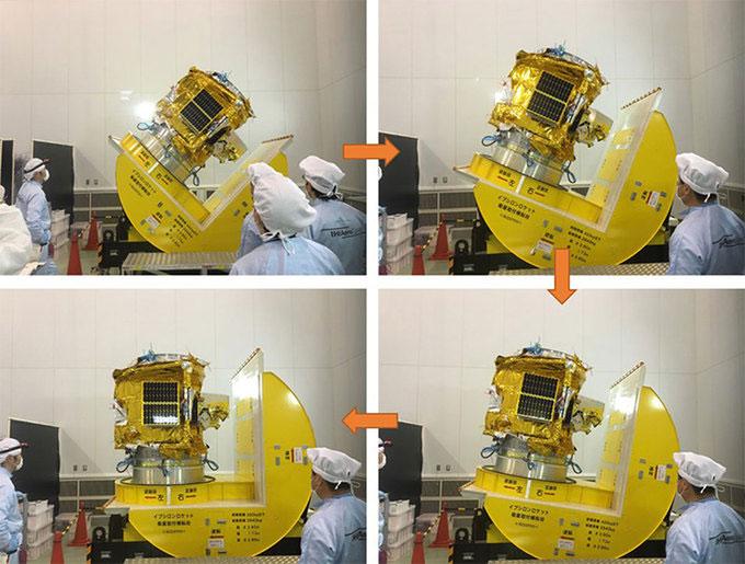 ...và thử nghiệm mô phỏng quá trình thay đổi tư thế của vệ tinh khi chuẩn bị được thả vào không gian.