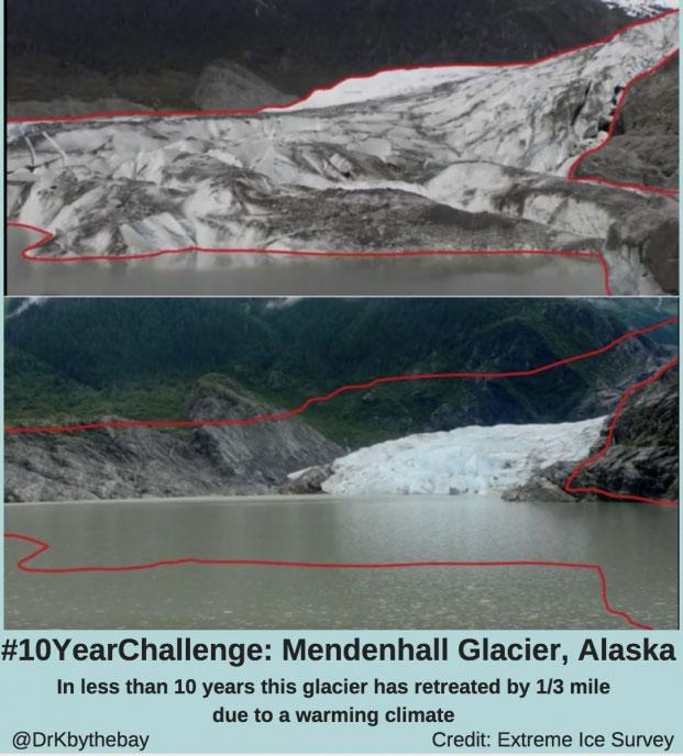 Sông băng Mendenhall Glacier, Alaska biến mất dần chỉ còn 1/3 dặm trong vòng chưa đẩy 10 năm do biến đổi khí hậu