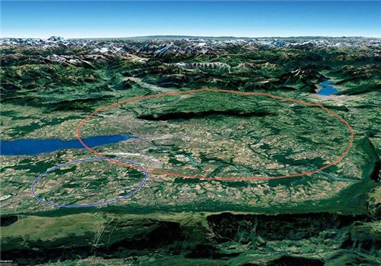 Máy gia tốc hạt mới có thể đặt trong đường hầm vòng tròn 100km (đỏ) gần LHC của CERN