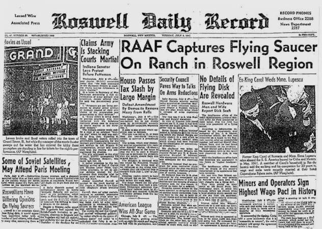 Tin tức về sự cố tại Roswell gây chấn động thời đó.