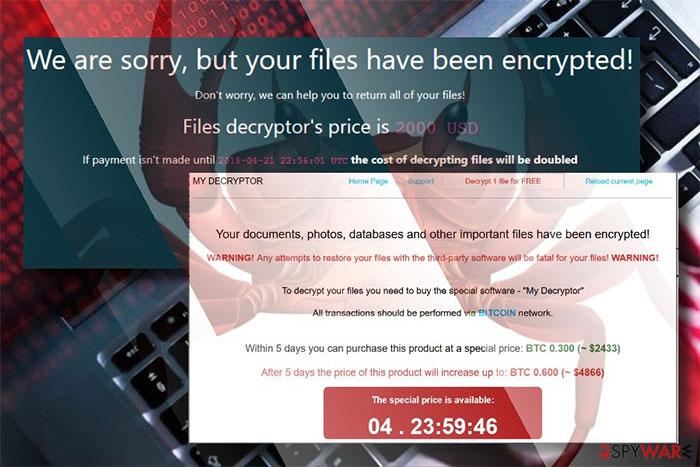 Virus thông báo tập tin đã bị mã hóa và yêu cầu thanh toán 2000 USD để được giãi mã.