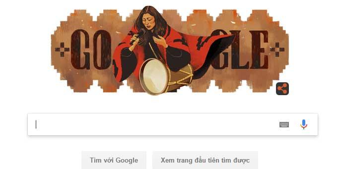 Google Doodle để biểu tượng vinh danh Mercedes Sosa.