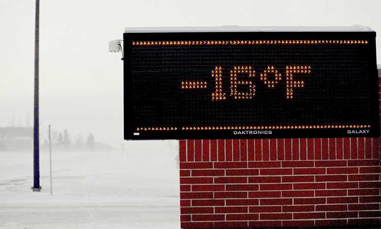 Bảng điện tử báo nhiệt độ bên ngoài trường tiểu học ở bang Minnesota ngày 29/1.