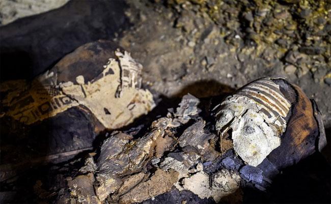 Các mảnh quách gỗ được phát hiện bên ngoài một số xác ướp.