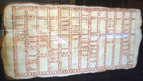 Một bản phục dựng lại quyển lịch Fasti Antiates Maiores của người La Mã ra đời khoảng năm 60 trước Công nguyên