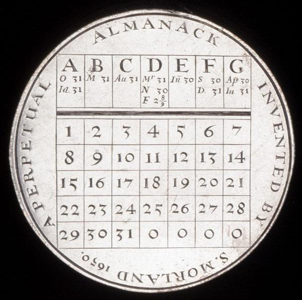 Thiết kế niên giám vĩnh cửu của Samuel Morland năm 1650