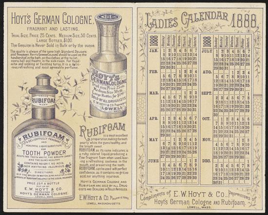 Lịch kèm quảng cáo của năm 1888