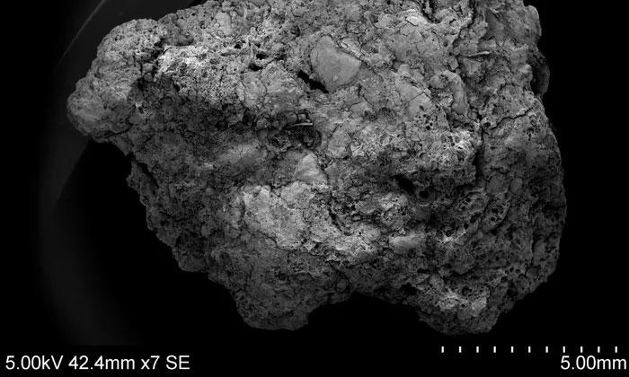Các mảnh vỡ của tàn tích bị đốt thành than từ một quá trình làm bia