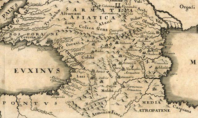 Bản đồ xứ Colchis và Iberia do học giả người Đức Christoph Cellarius ấn hành vào năm 1706.