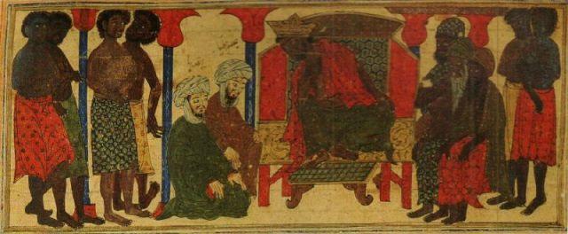 Minh họa vào thế kỷ thứ 14 diễn tả cảnh vua Aksum từ chối yêu cầu của một phái đoàn người Hồi giáo.
