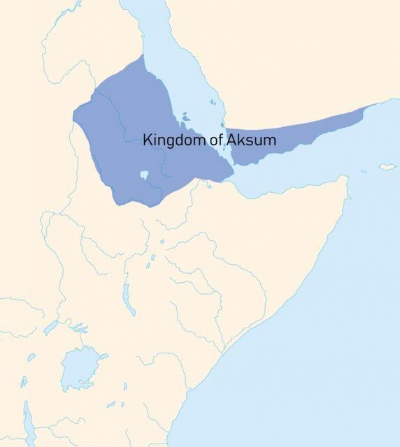 Vương quốc cổ đại Aksum có phần lãnh thổ trải dài từ sông Nile qua biển Đỏ.