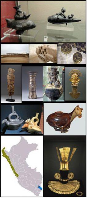 Các hiện vật khảo cổ học thuộc về thời kỳ văn minh của người Chimú.