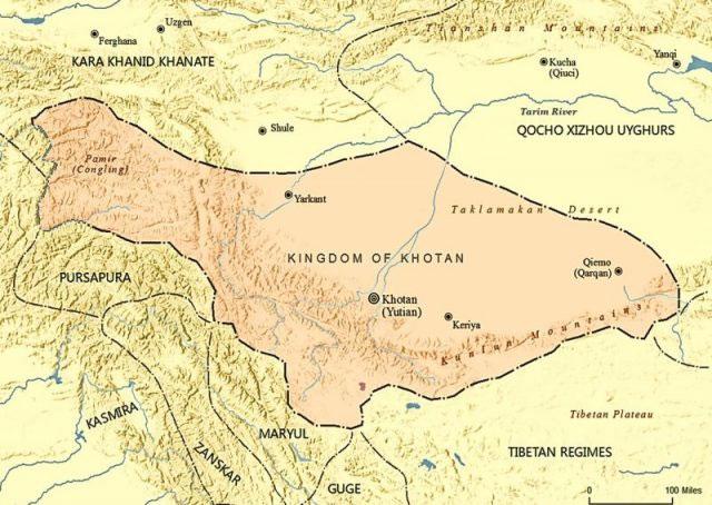 Bản đồ vương quốc Khotan cổ đại
