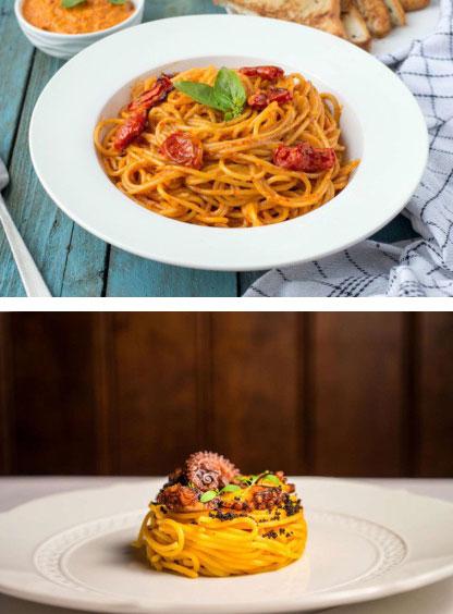 """Cùng là spaghetti nhưng ở nhà hàng hạng sang lại khiến bạn """"thòm thèm"""" hơn là do khẩu phần ít hơn."""