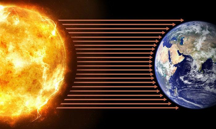 Các bức xạ từ Mặt Trời bắn ra ngoài không gian có cường độ khoảng 64 triệu W/m2.
