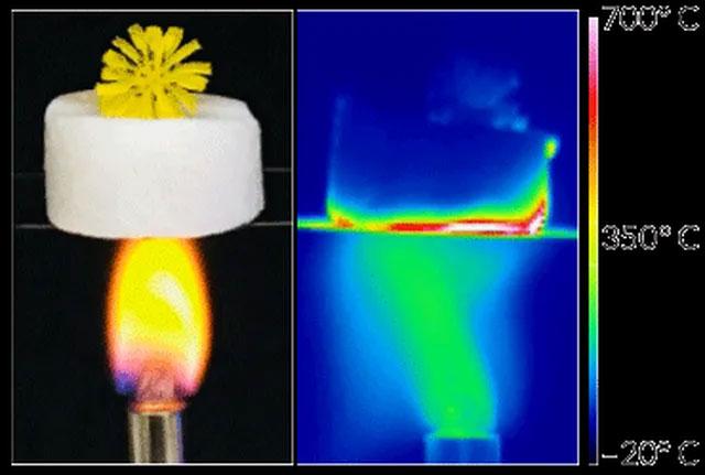 Thí nghiệm cho thấy tính cách nhiệt rất cao của vật liệu mới.