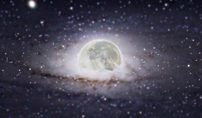 """Mặt Trăng, được ghép vào ngân hà Andromeda, ngân hà """"hàng xóm"""" của chúng ta."""