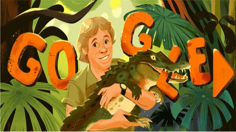 Doodle Google dành một slideshow các hình ảnh quen thuộc về Stephen Robert Irwin