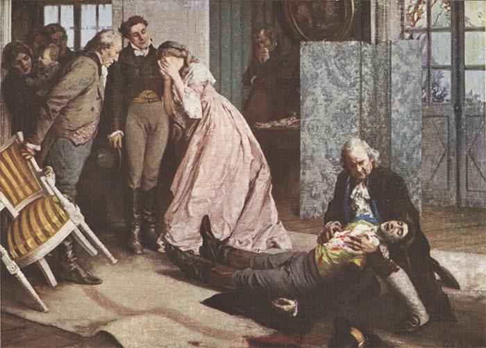 Hình minh họa cảnh Werther tự sát trong câu chuyện.