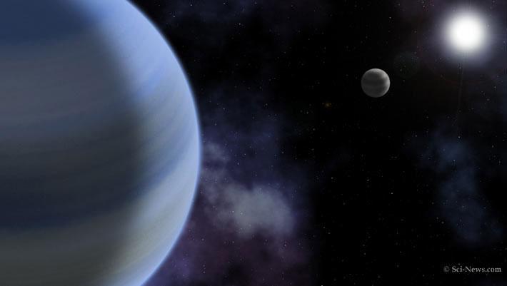 Hai hành tinh khí khổng lồ và sao mẹ TOI-216 tỏa sáng phía xa - (ảnh đồ họa của SCI-NEWS).