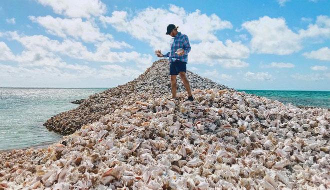 Đảo Conchđược xây dựng từ hàng triệu vỏ ốc xà cừ.