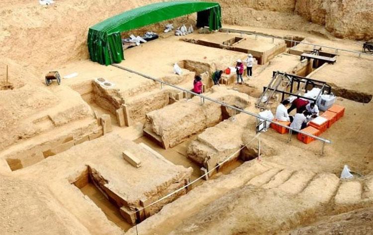 Địa điểm khai quật ngôi mộ cổ.