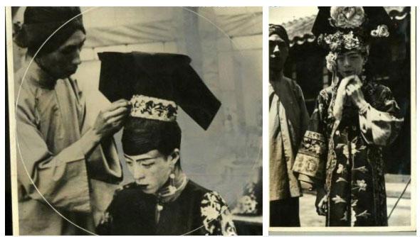 Những người hầu trong nhà được phân công búi tóc và mặc trang phục thành hôn cho tân nương.