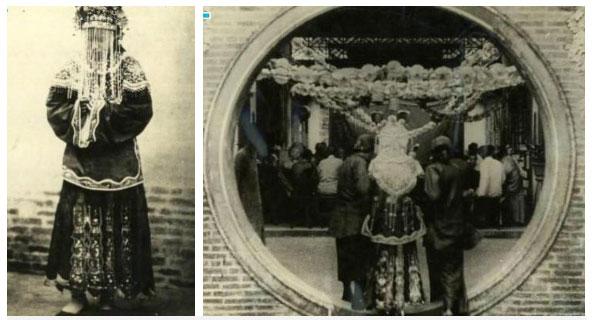 Một cô dâu khác với trang phục cầu kì cùng màn che và được người hầu đưa vào lễ đường