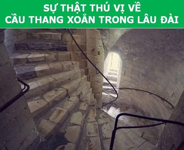 Cầu thang xoắn trong lâu đài