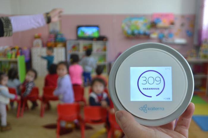 Nồng độ bụi cực cao ngay trong một lớp mầm non ở Trường mẫu giáo số 212, Dari Ekh, Ulaanbaatar.