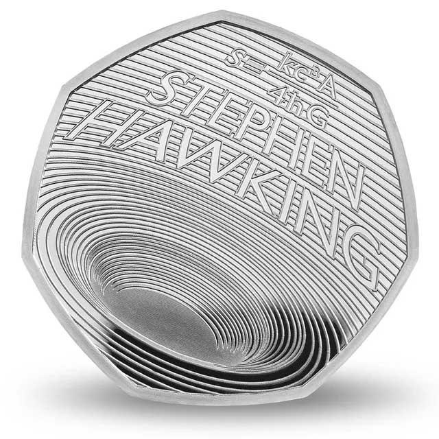 Đồng 50 xu mới phát hành để tưởng nhớ nhà vật lý học Stephen Hawking và công trình nổi tiếng của ông về các hố đen vũ trụ.