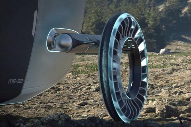 Lốp xe Aero có hình tròn và xoay quanh một trục ở giữa.