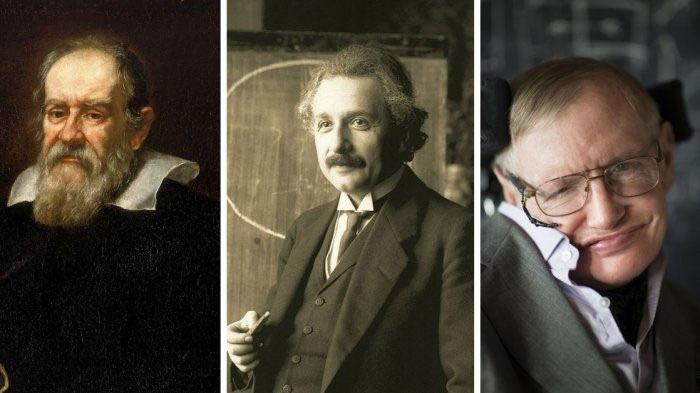 Từ trái qua:Galileo Galilei, Albert Einstein và Stephen Hawking.