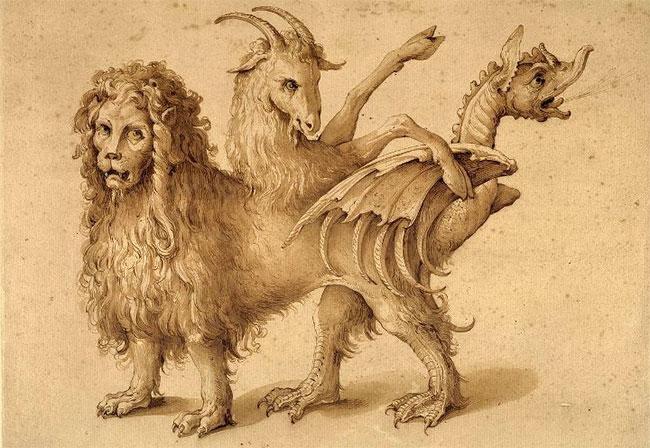 Chimera thần thoại gồm 3 bộ phận khác nhau: đầu sư tử, mình dê, đuôi rồng hoặc rắn.