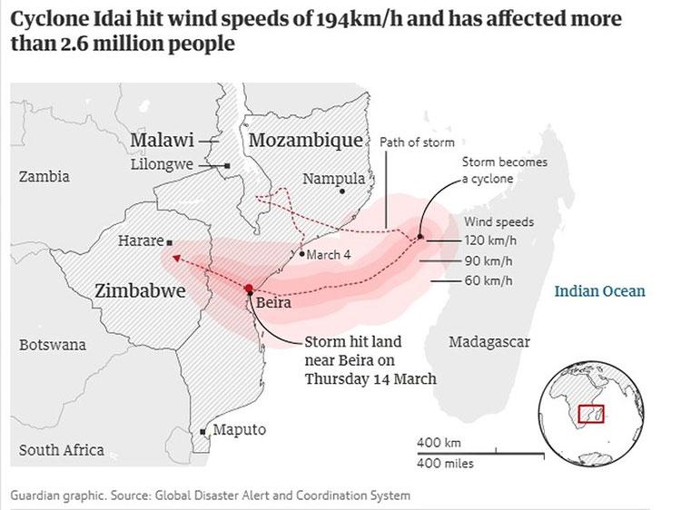 Đường đi của bão Idai.