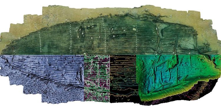 Bản vẽ mô phỏng hình dạng con tàu sông Nile kỳ lạ dựa trên các phần xác tàu đã tìm thấy