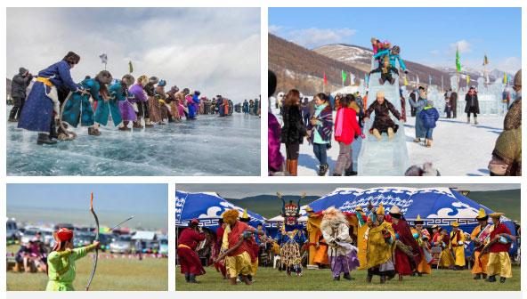Trên mặt hồ Khövsgöl đóng băng, người ta tổ chức đủ các loại hình vui chơi từ truyền thống đến hiện đại