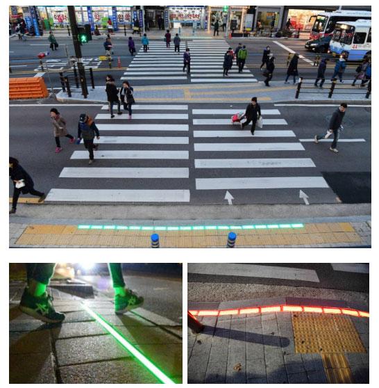 Một số vỉa hè còn được trang bị thêm đèn laser để tăng tính cảnh báo.