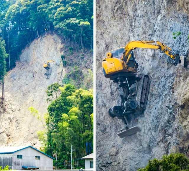 Đây là cách người ta đào đất trên một sườn núi.