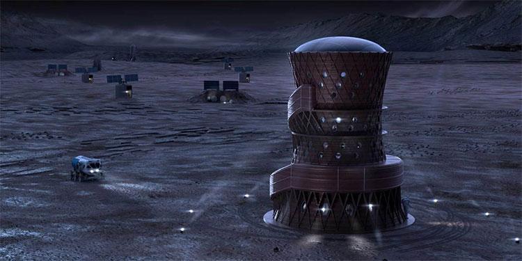 Đây là ngôi nhà tương lai ở sao Hỏa vào buổi đêm.